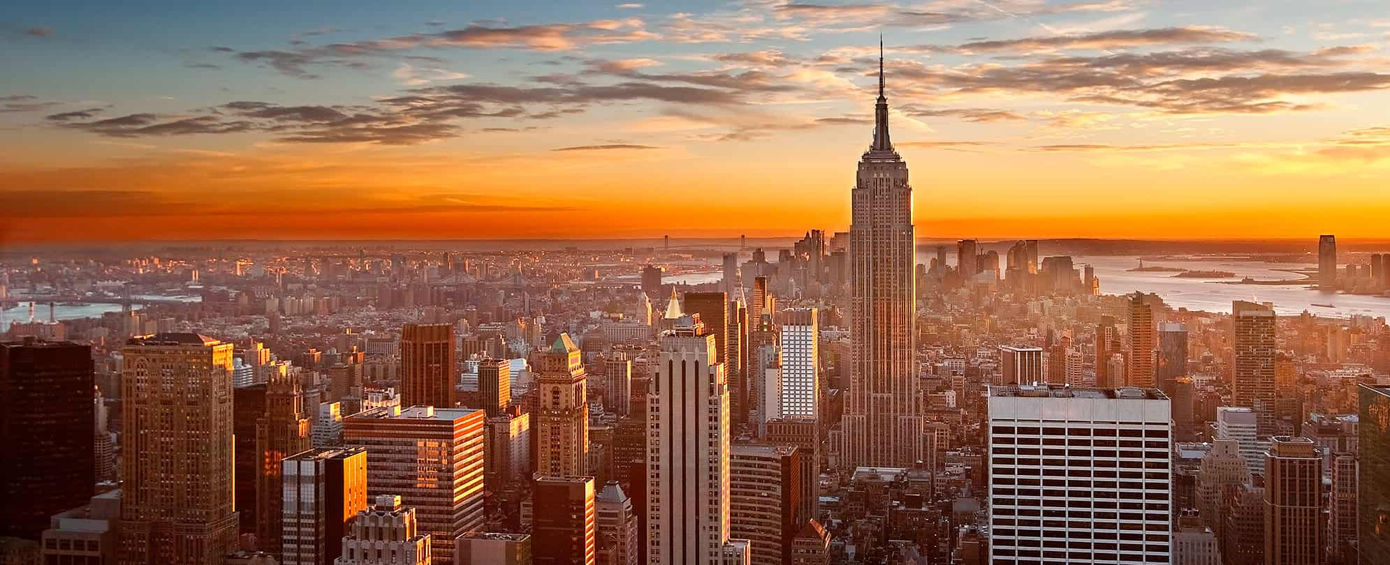 Birds eye sunset view of the Empire state Building in New York City, New York