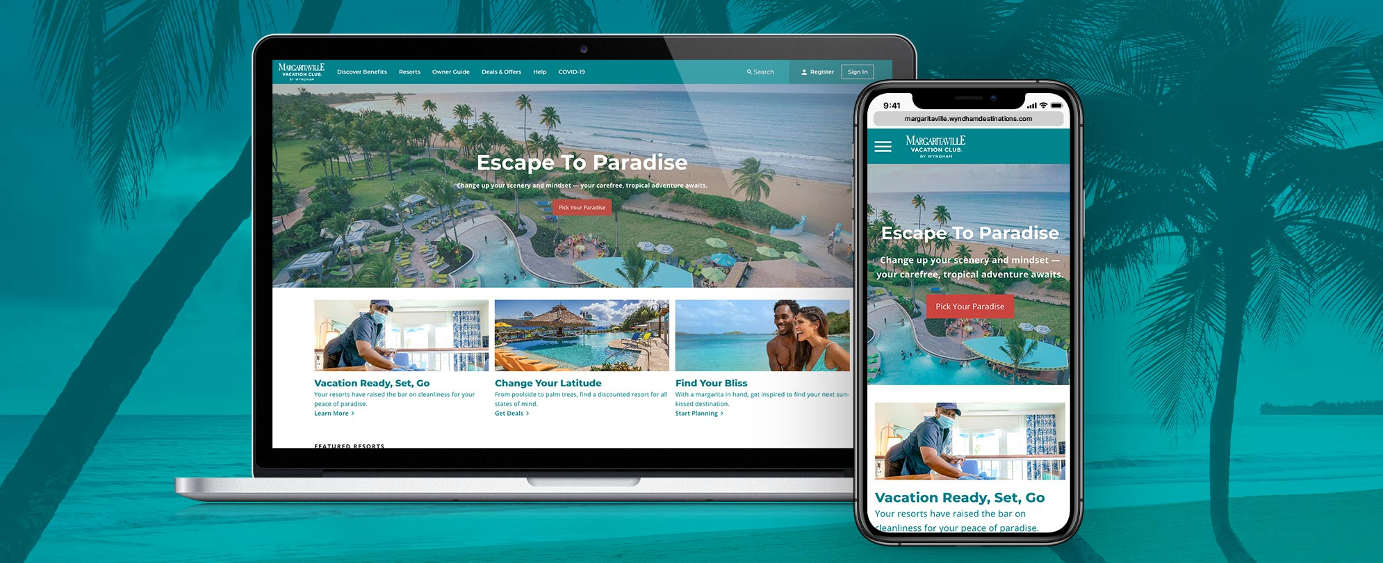 Laptop and mobile display of the new Margaritaville Vacation Club by Wyndham website