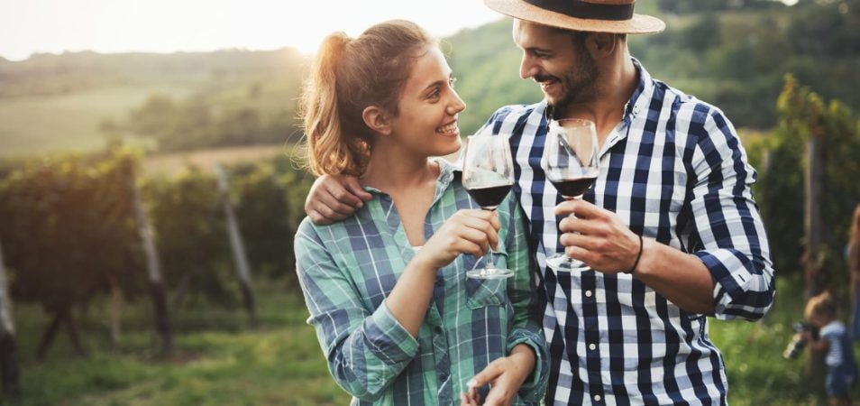 A couple in their 30s clink wine glasses full of red wine in a sunny vineyard